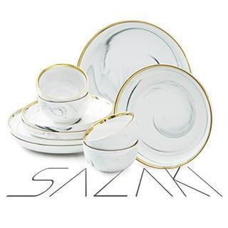 Sazaki Melamine Dinnerware Set 12 Piece Plate & Bowl Set.  Durable Dinnerware for 4.  Unique Natural Marble Design Gold-plated Dinnerware Set (Dinner Plate.  Dessert Plate.   Missing 4 Bowls