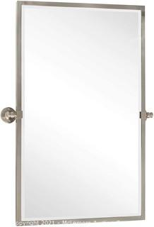 TEHOME 28.5 x 36 inch Brushed Nickel Metal Framed Pivot Rectangle Bathroom Mirror in Stainless Steel Tilting Beveled Vanity Mirrors for Wall