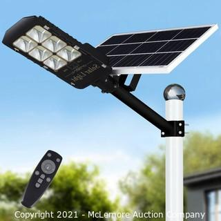 300W Solar LED Street Lights Outdoor Lamp.  Dusk to Dawn Post Light with Remote Control.  Waterproof.  Ideal for Parking Lot.  Patio.  Garage and Garden (Cool White) Parts Unverified
