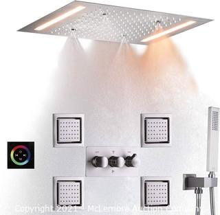 DULABRAHE Luxury Rainfall Shower System Set Ceil Mounted 14 X 20 Inch Rectangular Atomizing Rain Shower Head Faucet With LED Control Touch Panel Spa