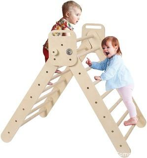 Aagam CPSIA Certified Triangle Ladder Foldable Kids Toddlers Climbing Toys Indoor Wooden Climbing Gym Play Structure Montessori