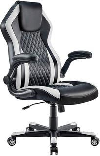 Mr IRONSTONE Gaming Chair Office Executive Computer Ergonomic Video Game Chair with Backrest Armrest Height Adjustable Swivel Comfortable Seat PC Esports Racing Chair (Black+White) Parts Verified