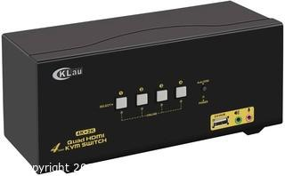 CKLau 4 Port Quad Monitor HDMI KVM Switch with Audio.  Microphone.  USB 2.0 Hub and Cables Support 4Kx2K@30Hz