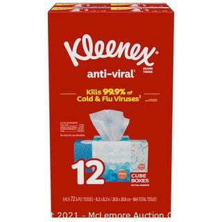 Kleenex Anti-Viral Facial Tissue, 3-Ply, 72-count, 12-pack - New Open Box
