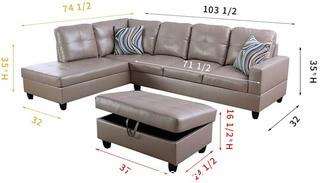 Light Luxury Living Room Sofa Three-Piece Set Artificial Leather Sofa Set Storage Chair Reclining Bench (Left Facing.  F09512) - OTTOMAN NOT INCLUDED!