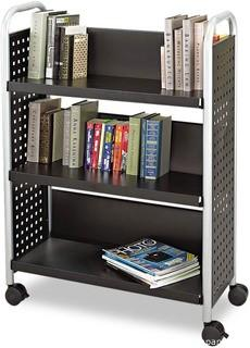 Safco Scoot 3-Shelf Metal Book Cart.  Black (5336BL) - New in Box - MSRP $287