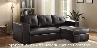 Black Tufted PU Sectional Sofa with Sleeper Acme Furniture 53345 Lloyd - New in Box - MSRP $2047
