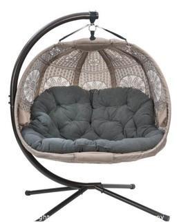 FlowerHouse 5.5 ft. x 4 ft. W Hanging Pumpkin Patio Swing Hammock Chair with Base in Sand Dreamcatcher - New Open Box - MSRP $500
