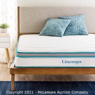 Linenspa 8 Inch Memory Foam and Innerspring Hybrid Medium-Firm Feel-Full Mattress.  White