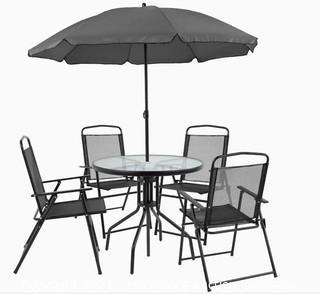 Flash Furniture Nantucket 6-Piece Metal Frame Patio Conversation Set - New in Box - MSRP $212.41