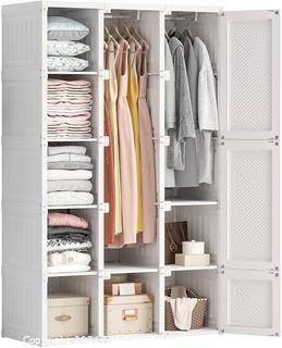 """ANTBOX Portable Closet Clothes Wardrobe Plastic Bedroom Armoire 14""""x20"""" Depth Cube Storage Organizer with Hanging Rod and Doors.  15 Cubes.  White - New in Box - MSRP $379"""