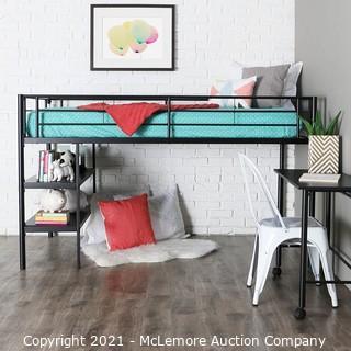 Walker Edison Metal Twin Low Loft Bunk Desk Kids Bed Bedroom Storage Guard Rail Ladder.  Black - New in Box - $449