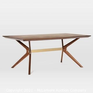"""West Elm Wright Dining Table 72"""" Dark Walnut - New in Box - MSRP $1000"""