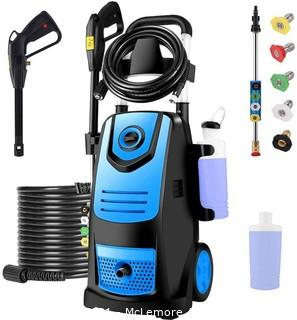 Suyncll 3800 PSI 2.8GPM Electric Pressure Washer Electric Power Washer with Soap Bottle (Blue)