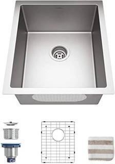 Bar Sink.  TORVA 17-Inch Undermount Kitchen Sink.  16 Gauge Stainless Steel Single Bowl - 17 x 19 x 9 Inch Deep Bar / Prep Basin
