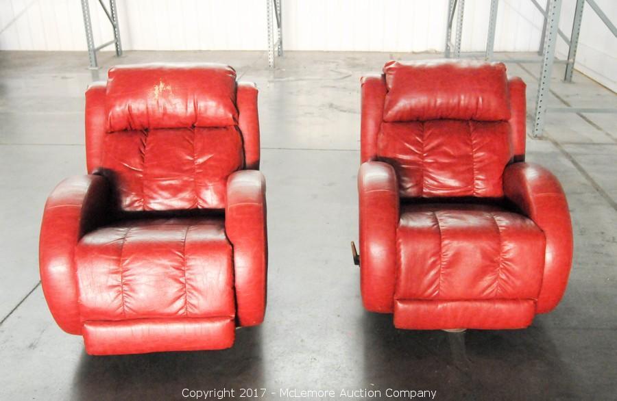 2 Leather Rocker Swivel Recliners From DT McCallu0027s