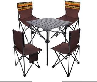 5-Piece Camping Table and Chair Set with Portable Bag.  Foldable.  Portable.  Lightweight.  Compact Aluminum Roll Up Adult Camping Chairs With Carrying Case