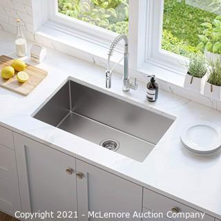 Kitchen Sink.  MENSARJOR 30-inch Undermount Nano Ceramic Plating fully Coating Kitchen Sink.  16 Gauge Single Bowl Stainless Steel Handmade Kitchen Sink