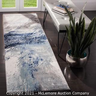 SafaviehGalaxy Blue/Gray 2 ft. x 10 ft. Abstract Runner Rug - BRAND NEW