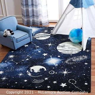"""Safavieh Carousel Kids Collection CRK122M Outer Space Area Rug.  3'3"""" x 5'3"""".  Dark Blue / Light Blue - Brand New"""