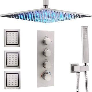 AYIVG Thermostatic LED 16 Inch 3 Way Ceiling Rainfall Shower System With 3 PCS Body Jets Brushed Nickel