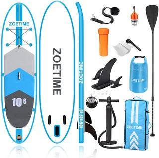 """Zoetime Inflatable Stand Up Paddle Board.  10'6""""�32""""�6"""" Lightweight Versatile SUP for Touring Racing Fishing Surfing Yoga.  Include Backpack.  Bonus.  Leash.  Fin.  Paddle.  Waterproof Bag and Hand Pump"""