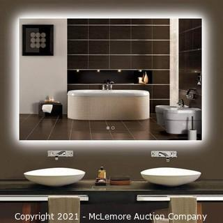 Keonjinn 48 x 32 Inch Backlit LED Mirror Lighted Bathroom Mirror with Lights