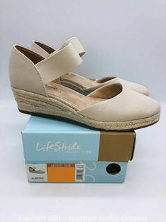 New in Box- Life Stride Velocity 2.0 Women's Kaylee Espadrille Wedge Sandal Almond- Size 6.5