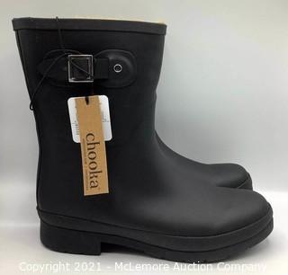 New in Box - Chooka Women's Delridge Mid-Height Waterproof Plush Black Rain Boots - Size 10
