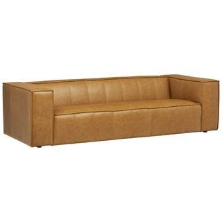 """Rivet Thomas Modern Leather Sofa Couch.  101.2"""".  Caramel - MSRP $1498"""