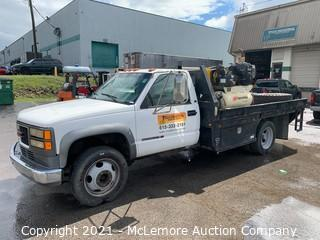 """1999 GMC 3500HD 2WD 7.4L (454) Automatic with 3200lb Crane, Ingersoll Rand Air Compressor and 8"""" Vise VIN-1GDKC34J1YF400402"""