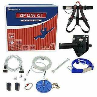 Trsmima 98 Feet Zip Line Kit for Kids and Up to 350 lb with Stainless Steel Zip line