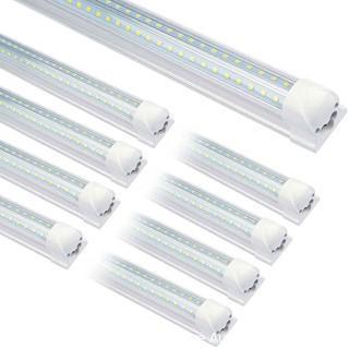 (25-Pack) T8 LED Shop Light. 8FT 72W 7200LM 6000K Tube Clear Cover Bulb linkable Double Sided V Shape Integrated LED Light for Garage. Warehouse. Workshop.  Basement