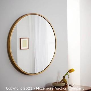 Metal Framed Mirror.  Antique Brass.  Round