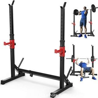 Annzoe Adjustable Multi-Function Barbell Rack Stand.  Max Load 600lbs Adjustable Squat Rack Dipping Station Dip Stand Fitness Barbell Free Bench Press Stands Press Equipment Home & Gym Parts Unverified
