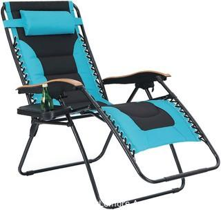 PHI VILLA Oversize XL Padded Zero Gravity Lounge Chair Wide Armrest Adjustable Recliner with Cup Holder.  Support 350 LBS (Aqua) Parts Verified