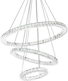 SILJOY Three Rings Chandelier Lighting (11.8-19.7 - 27.6 Inches) K9 Crystal Ceiling Light Fixture Galaxy Style Decor LED Lighting for Dining Room.  Entry. ...