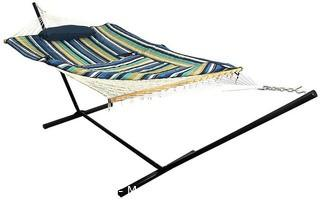 Sunnydaze Cotton Rope Freestanding Hammock with 12 Foot Portable Steel Stand and Spreader Bar.  Pad and Pillow Included.  Lakeview Parts Unverified