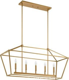 "MOTINI 5-Light Kitchen Island Lantern Pendant Linear Chandelier Gold Rod Hanging Light 40""x 12""x18.5"""