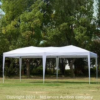 10 x 20 Pop Up Canopy Tent Portable Shade Instant Heavy Duty Outdoor Gazebo White Canopy Tent with 4 Sandbags for Outdoor Party Wedding Commercial Activity Pavilion BBQ Beach Car Shelter