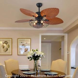Palm Island Bali Breeze Ceiling Fan.  Five Palm Leaf Blades.  Tropical Fan.  With Remote Control ?52 inches? (Brown 3 Lights)