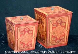 Pair of Leather Embosed Boxes w/ Lids