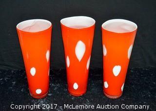 (3) Red Glass Vases