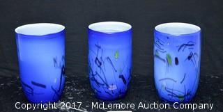 (3) Blue Glass Vases