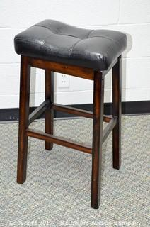 Single Leather Upholstered Barstool - Black