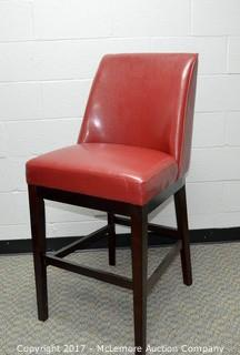 Set of 2 Red Leather Bar Chairs