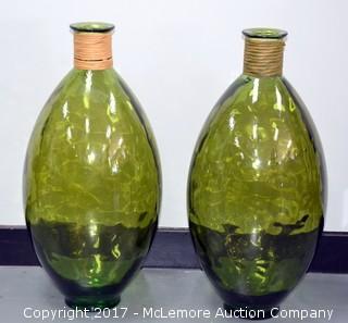 Pair of 2 Green Jugs