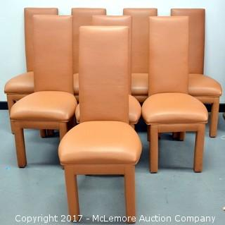 Set of 8 Leather Dining Chairs (some wear)