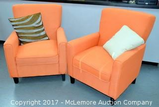 Pair of Upholstered Chairs w/ Pillows