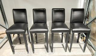 4 Leather Bar Stools with Metal Legs by R Jones of Dallas